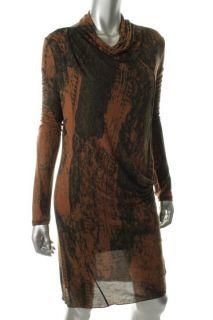 EDUN New Brown Modal Printed High Neck Draped Casual Dress M BHFO