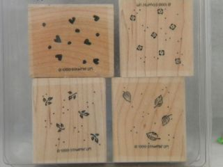 Stampin Up Petite Patterns 4 Mounted Rubber Stamp Set Leaves Heart