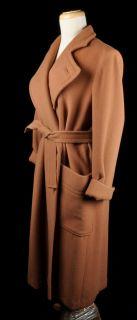 Vintage Emmanuelle Khanh Camel Wool Cashmere Full Length Coat Sz M
