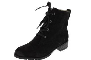Cynergy Black Suede Faux Fur Ankle Combat Boots Shoes 5 5 BHFO