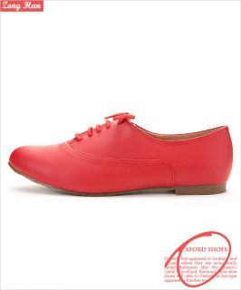 Style Womens Lace Up Oxford Flat Shoes in Pink Red Brick Red