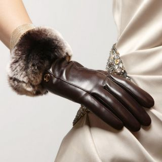 Elma Ladys Kid Nappa Leather Super Warm Gloves with Luxurious Rabbit