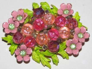 Signed Selini Pink Green Enamel Rhinestone Flower Brooch Pin