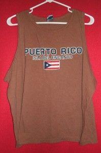 XL Puerto Rico Isla Del Encanto Mens Brown Cotton Sleeveless Tank T