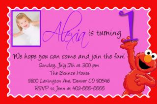 Custom Sesame Street Elmo Birthday Invitations
