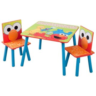 Kids Sesame Street Elmo Solid Wood Table Chair Set Childs Room Wooden