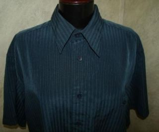 Mens Marc Edwards Navy Blue Pinstripe Dress Shirt L
