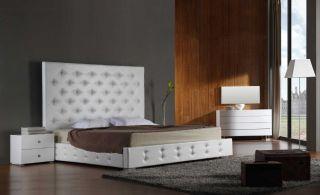 Vig Furniture Elbrus Queen White Modern Leather Platform Bed