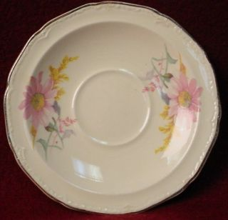 Edwin Knowles China Pink Floral Pattern Demitasse Cup Saucer Set