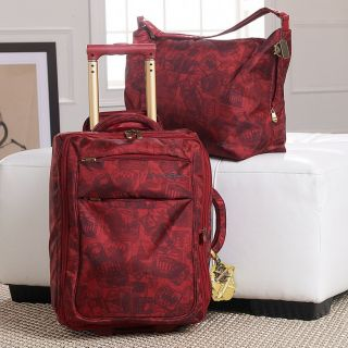 Samantha Brown Casual Lightweight 2 Piece Travel Set Luggage Red Stamp
