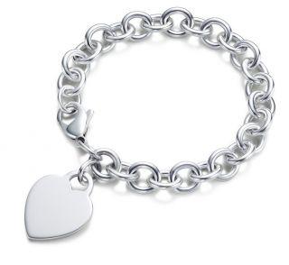 Solid .925 Sterling Silver Engravable Heart Charm Rolo Link Bracelet