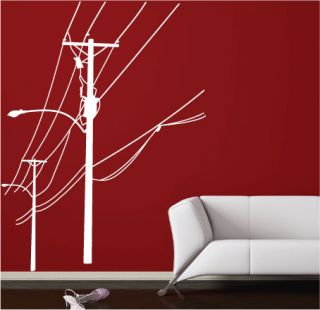 Electric Pole Vinyl Art Wall Stickers Wall Decals