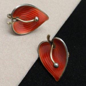 Red Earrings Vintage Sterling Silver Enamel Norway Einar Modahl