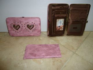 NEW PINK HEART WALLET for purse Western Montana West Rhinestone check