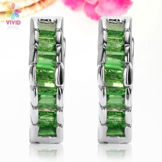 Hoop Green Emerald White Gold GP Earrings Ring Fashion Jewelry