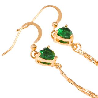Jewelry Lady Green Emerald Yellow Gold GP Dangle Chain Drop Earrings