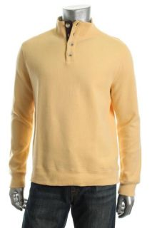 Tasso Elba New Yellow Ribbed Long Sleeve Button Front Mock Neck Casual