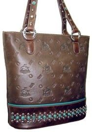 Brown Western Rodeo Bronc Horse Brand Turquoise Stone Cowgirl Handbag