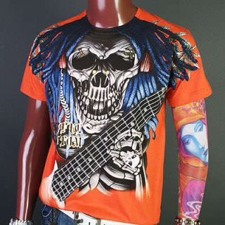 AA0006O Artful Couture Skull Guitar Emo Music T Shirt XL