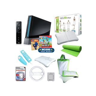 Nintendo Wii Black Bundle with Wii Fit Plus, Wheels, Yoga Mat and Much