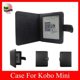 Black Leather Case Cover Pouch Jacket for Kobo Mini eReader
