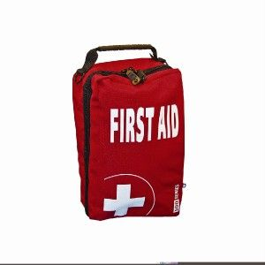 empty first aid bag with compartments extra large red