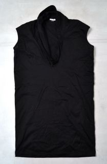 Elijah Cotton Cowl V Neck Sleeveless Black Top Blouse Shirt Small