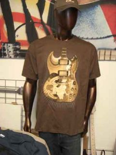 Eric Clapton 2010 Tour Tshirt Brown Fool Guitar Large