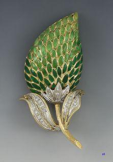 Italian 18K Gold Diamond Enamel Flower Brooch Pin