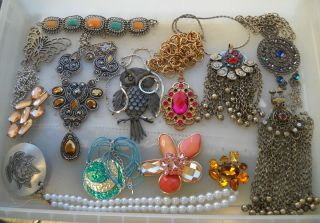 Jewelry Bib Necklaces Brooches Rhinestone Owl Erica Lyons Butterfly