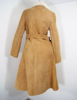 VTG Eddie Bauer Long Sheepskin Shearling Long Coat Womens 14