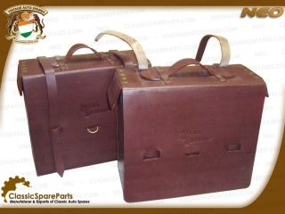 royal enfield pair of brown genuine leather bag