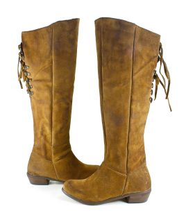 Naughty Monkey Bullet Knee High Suede Leather Boots Shoes 10 New