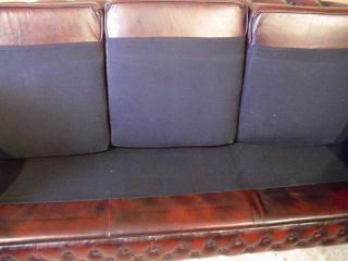 English Chesterfield 3 Seat Leather Sofa Nice Tufted Model