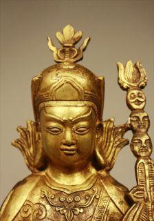 Buddha Padmasambhava Sculpture Brass Bronze Tibetan Tibet Figure