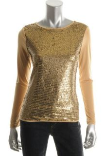 Ellen Tracy New Prism Beige Embellished Jersey Jewel Neck Blouse Top s