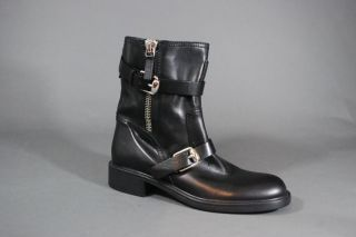 Gucci Edie Biker Boots Black Leather Zip Up Buckle Straps Ankle
