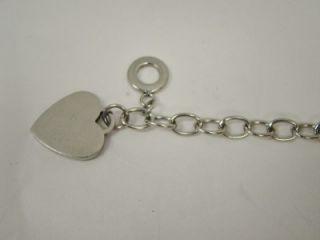 Steel Ladies Women Engravable Toggle Heart Charm Link Bracelet