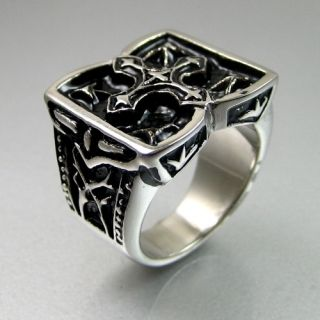 Biker Mens Black Silver Stainless Steel Engraved Cross Ring