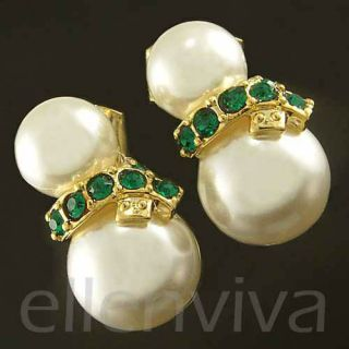 Green Scarf Christmas Gift Xmas Elegant Earrings Gold Tone eg260ge