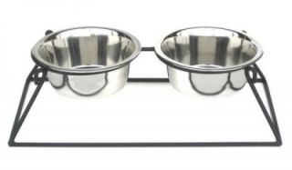 Double Bowl Elevated Raised Dog Feeder Dish Heavy Duty