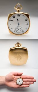 Antique Elgin Squared Pocket Watch Engraved Gns Solid 14k Gold Circa