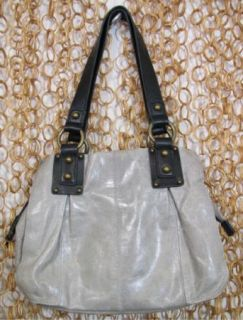 Ellington Womens Gray Black Leather Small Handbag Shoulder Purse Bag