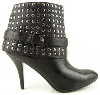 Enzo Angiolini Liliac Black Buckled Steel Studs Womens Heel Ankle