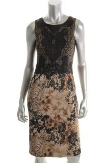 Elie Tahari New Selma Black Lace Printed Sleeveless Cocktail Evening