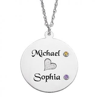 Disc with Name and Birthstone Color Crystal Pendant and 20 Chain
