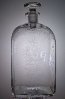 Antique Blown Glass Etched Decanter w/ Stopper Late 18th Early 19th