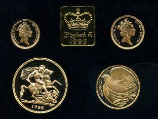 1995 Queen Elizabeth II 4 Coin Gold Proof Sovereign set.