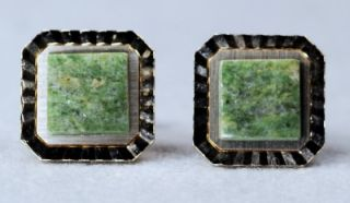 Vintage Swank Green Onyx Cuff Links and Tie Bar ~ Gold Plated