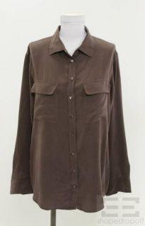 Equipment Femme Brown Silk Oversized Button Down Shirt Size Small
